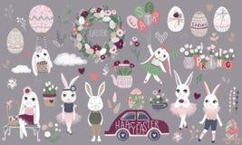 Sistema grande de los personajes de dibujos animados de Pascua y de eleme felices lindos del diseño stock de ilustración
