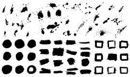 Sistema grande de manchas del grunge Diseñe los elementos para el cartel, bandera, tarjeta Foto de archivo