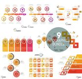 Sistema grande de plantillas infographic mínimas del diseño en color azul Fotos de archivo libres de regalías