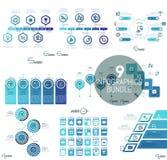 Sistema grande de plantillas infographic mínimas del diseño en color azul Imágenes de archivo libres de regalías
