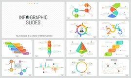 Sistema grande de plantillas infographic mínimas del diseño Gráficos, flujo de trabajo y cartas de barra, alrededor y diagramas c libre illustration