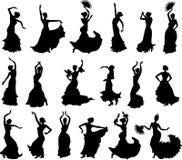 Sistema grande de siluetas de los bailarines del flamenco libre illustration