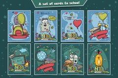 Sistema grande de tarjetas coloreadas con garabatos de nuevo a escuela Foto de archivo
