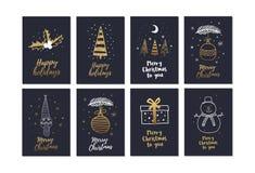 Sistema grande de tarjetas de Navidad creativas con día de fiesta dibujado mano de los elementos del oro ilustración del vector