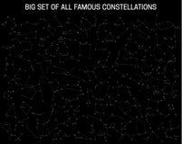 Sistema grande de todas las constelaciones famosas, muestras astronómicas modernas del zodiaco ilustración del vector