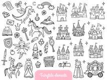Sistema grande de un cuento de hadas de la moda y de objetos mágicos aislados en el fondo blanco libre illustration