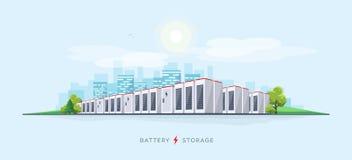 Sistema grande del almacenamiento de la batería stock de ilustración