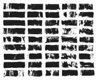 Sistema grande del cuadro de texto rectangular Raya de la pintura del Grunge Movimiento del cepillo del vector Puntos negros del  stock de ilustración