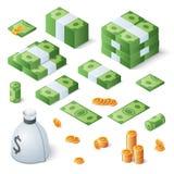 Sistema grande del dinero Billetes de dólar y monedas de oro Ejemplo isométrico del vector libre illustration