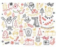 Sistema grande del elemento del diseño de la Navidad en estilo del garabato Ejemplo del vector de las vacaciones de invierno stock de ilustración
