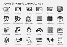 Sistema grande del icono de los datos en diseño plano stock de ilustración