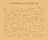 Sistema grande del vector 28 constelaciones Colección de constelaciones del zodiaco del cielo nocturno Foto de archivo