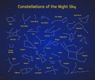 Sistema grande del vector 28 constelaciones Colección de constelaciones del zodiaco del cielo nocturno Fotografía de archivo libre de regalías