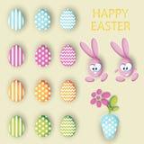 Sistema grande del vector de la colección de los huevos de Pascua, de los huevos de los conejos y del pote con una flor Fotos de archivo
