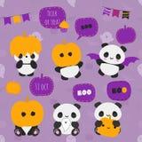 Sistema grande del vector de los osos de panda lindos del kawaii y del elemento decorativo libre illustration