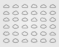 Sistema grande del vector de treinta y seis formas de la nube Imagen de archivo