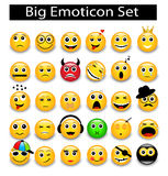 Sistema grande emoticons amarillos redondos ilustración del vector