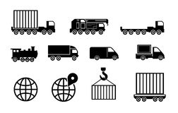 Sistema grande negro del icono del transporte del vector Foto de archivo libre de regalías