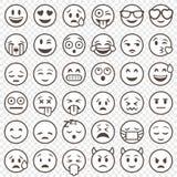 Sistema grande resumido vector del Emoticon ilustración del vector