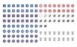 Sistema grande señales de tráfico del límite de velocidad de diversas en blanco libre illustration
