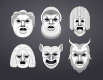 Sistema griego de la máscara del teatro Fotografía de archivo