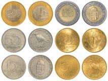 Sistema húngaro de la colección de monedas del forint foto de archivo libre de regalías