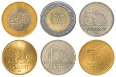 Sistema húngaro de la colección de monedas del forint imagen de archivo