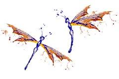 Sistema hecho pintura de la libélula del amarillo del rojo azul stock de ilustración