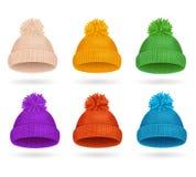 Sistema hecho punto del invierno del sombrero del color Vector ilustración del vector