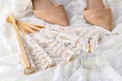 Sistema hermoso de accesorios de la boda del ` s de las mujeres Mañana del ` s de la novia Imagenes de archivo