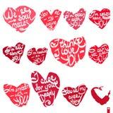 Sistema hermoso de corazones con las diversas declaraciones del amor Imágenes de archivo libres de regalías