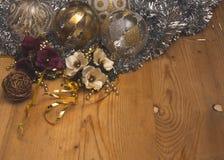 Sistema hermoso de las decoraciones de la Navidad Fotos de archivo