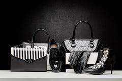 Sistema hermoso de los complementos de las mujeres en fondo negro Imagen de archivo