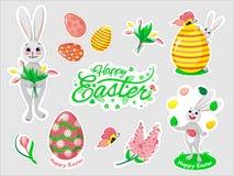 Sistema hermoso de los garabatos de Pascua en vector stock de ilustración