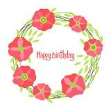 Sistema hermoso de Poppy Flowers, tarjeta colorida del día de fiesta del vector Foto de archivo libre de regalías