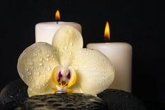 Sistema hermoso del balneario de la orquídea amarilla (phalaenopsis), velas Foto de archivo libre de regalías