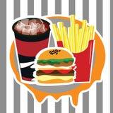 Sistema hermoso del menú de la publicidad de los alimentos de preparación rápida Imagen de archivo
