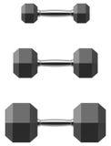 Sistema hexagonal de la pesa de gimnasia aislado en el fondo blanco Imágenes de archivo libres de regalías