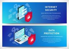 Sistema horizontal de Internet de la seguridad de las banderas isométricas del smartphone ilustración del vector
