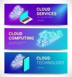 Sistema horizontal de las banderas de los servicios de la nube ilustración del vector