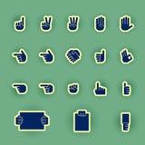 Sistema humano del icono de la mano aislado en verde Fotos de archivo