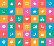 Sistema iconos sociales del diseño plano moderno de medios Fotografía de archivo