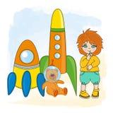 Sistema ideal del ejemplo del vector de la historieta del juego de los niños del ESPACIO del MUCHACHO libre illustration