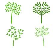 Sistema ilustrado de árboles stock de ilustración