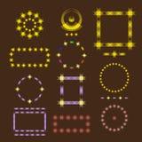 Sistema ilustrado de los bastidores del icono para la decoración y el texto brillante o del mapa por días significativos ilustración del vector