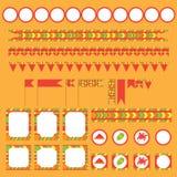 Sistema imprimible del partido de Holi del indio, festival de los elementos de colores ilustración del vector