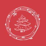 Sistema incompleto de la Navidad EPS 10 Ninguna transparencia Árbol de navidad de los elementos de la Navidad en marco Imagen de archivo libre de regalías