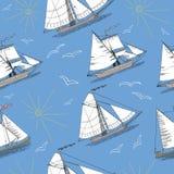 Sistema inconsútil con los barcos, el sol y los pájaros Imagenes de archivo