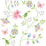 Sistema inconsútil de los elementos florales de la decoración Foto de archivo