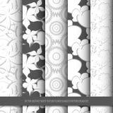 Sistema inconsútil del diseño del modelo de la flor blanca abstracta de la textura del vector Imagenes de archivo